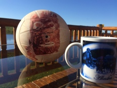Coffee on the deck with Wilson