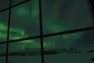 northern lights out the cabin window